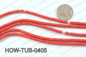 howlite tube red 4x4mm HOW-TUB-0405