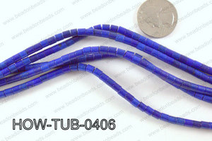 howlite tube dark blue 4x4mm HOW-TUB-0406