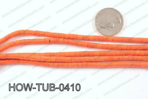 howlite tube orange 4x4mm HOW-TUB-0410