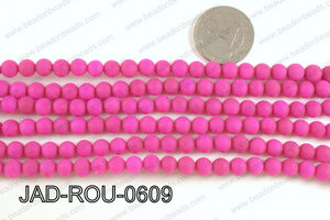 Matte Finish Round Jade Dark Pink 6mm JAD-ROU-0609