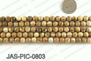 Picture Jasper faceted round 8mm JAS-PIC-0803