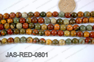 Red Creek Jasper Round  8mm JAS-RED-0801