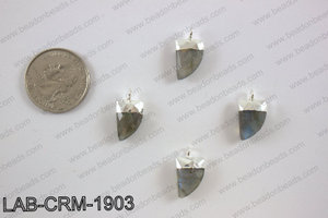 Labradorite charm with Silver top, 10x18mm LAB-CRM-1903