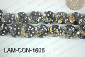 Lampwork Coin 18mm Black LAM-CON-1805