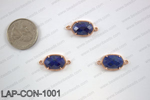 Lapis connector with rose gold trim, 14x23mm LAP-CON-1001