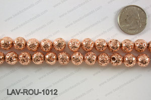 Electroplated Lava Round 10mm, Rose gold LAV-ROU-1012