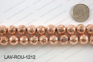 Electroplated Lava Round 12mm, Rose gold LAV-ROU-1212