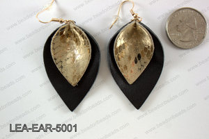 Double Leather leaf earrings 50x32mm LEA-EAR-5001
