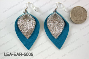 Double Leather leaf earrings 50x32mm LEA-EAR-5005