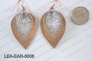 Double Leather leaf earrings 50x32mm LEA-EAR-5006