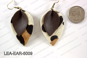 Double Leather leaf earrings 50x32mm LEA-EAR-5009