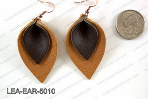 Double Leather leaf earrings 50x32mm LEA-EAR-5010