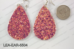 Imitation leather teardop earrings 55x35mm LEA-EAR-5504