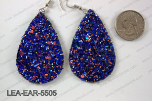 Imitation leather teardop earrings 55x35mm LEA-EAR-5505