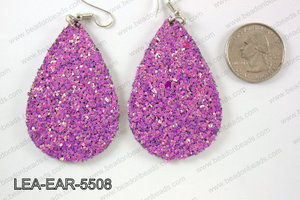 Imitation leather teardop earrings 55x35mm LEA-EAR-5508