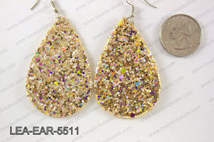 Imitation leather teardop earrings 55x35mm LEA-EAR-5511