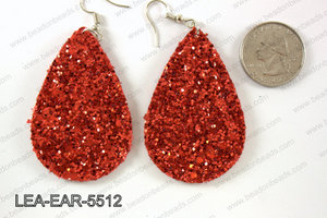 Imitation leather teardop earrings 55x35mm LEA-EAR-5512
