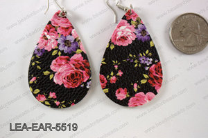Imitation leather teardop earrings 55x35mm LEA-EAR-5519