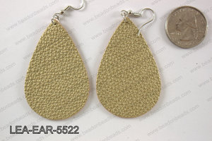 Imitation leather teardop earrings 55x35mm LEA-EAR-5522