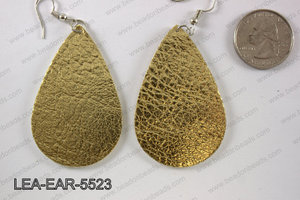 Imitation leather teardop earrings 55x35mm LEA-EAR-5523
