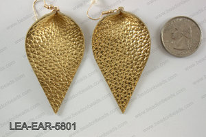 Leather leaf earrings 58x35mm LEA-EAR-5801
