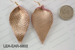 Leather leaf earrings 58x35mm LEA-EAR-5802
