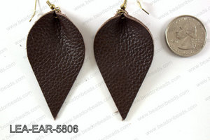 Leather leaf earrings 58x35mm LEA-EAR-5806