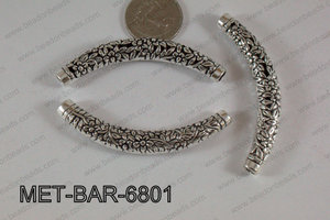 Metal Filligree Bar with Flowers Silver 60x10mm MET-BAR-6801