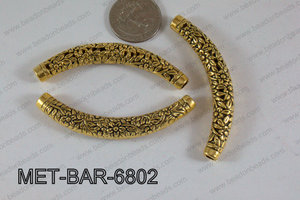 Metal Filligree Bar with Flowers Gold 68x10mm MET-BAR-6802