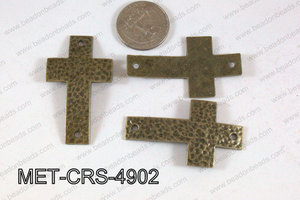 Hammered Metal Cross Connector Bronze 49x29mm MET-CRS-4902