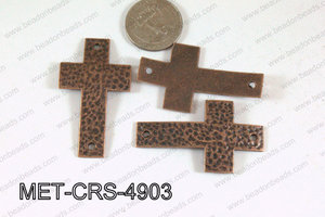 Hammered Metal Cross Connector Copper 49x29mm MET-CRS-4903