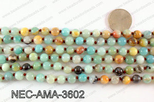 Knotted 8mm amazonite necklace NEC-AMA-3602