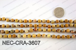 KNOTTED 8MM CRAZYLACE AGATE NECKLACE NEC-CRA-3607