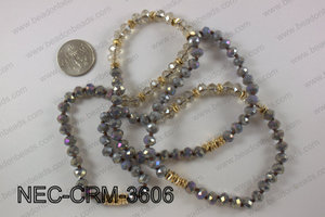 8mm crystal with metal spacer necklace NEC-CRM-3606