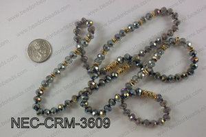 8mm crystal with metal spacer necklace NEC-CRM-3609