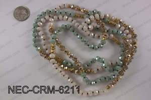8mm crystal with metal spacer necklace NEC-CRM-6211