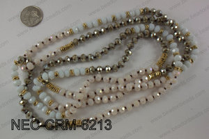 8mm crystal with metal spacer necklace NEC-CRM-6213