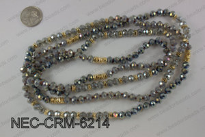 8mm crystal with metal spacer necklace NEC-CRM-6214