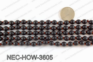 Knotted 8mm howlite black faceted necklace NEC-HOW-3605