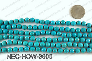 Knotted 8mm howlite turquoise necklace NEC-HOW-3606