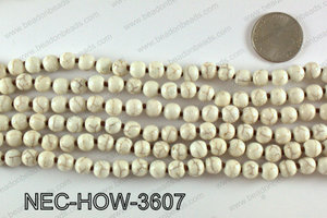 Knotted 8mm howlite cream necklace NEC-HOW-3607