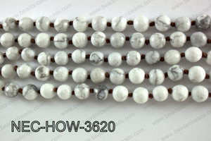 Knotted 8mm faceted howlite necklace  NEC-HOW-3620
