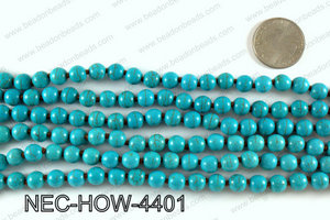 Knotted 8mm howlite turquoise necklace NEC-HOW-4401