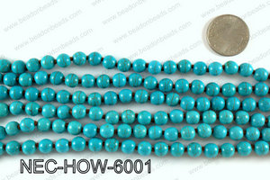Knotted 8mm howlite turquoise necklace NEC-HOW-6001