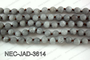 Knotted 8mm Matte Dyed Jade necklace  NEC-JAD-3614
