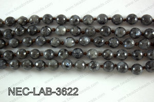 Knotted 8mm Faceted Black Labradorite necklace  NEC-LAB-3622