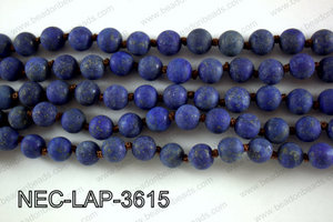 Knotted 8mm Matte Lapis necklace  NEC-LAP-3615