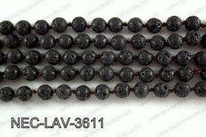 Knotted 8mm Black Lava necklace  NEC-LAV-3611
