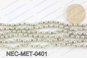 Knotted 4mm metal bead necklace NEC-MET-0401