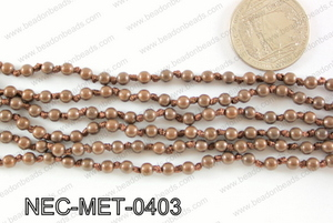 Knotted 4mm metal bead necklace NEC-MET-0403